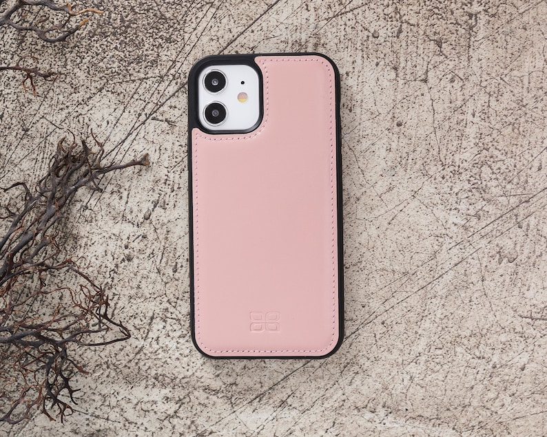 Phone Case 6.1 Personalization Nude Pink iPhone 12  iPhone 12 Pro Slim Back Cover Case Genuine Leather Apple iPhone 12 /& iPhone 12 Pro