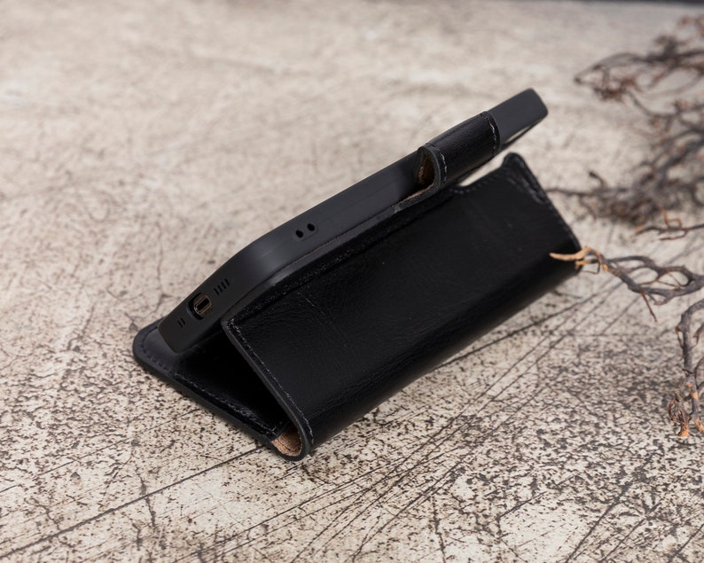 Black Leather Apple iPhone 12 /& iPhone 12 Pro 6.1 Wallet Phone Case with Card Slots Personalization iPhone 12   iPhone 12 Pro Case
