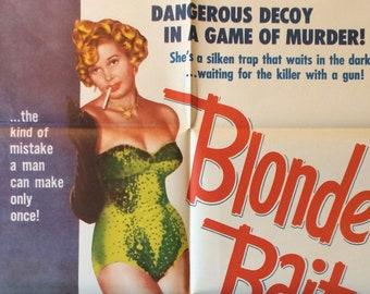 Blonde Bait Original Theatrical Movie Poster Vintage Fifties Stripper Burlesque Women in Prison Crime Drama Beverly Michaels Elmo Williams