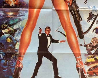 For Your Eyes Only Original British 1SH Theatrical Movie Poster James Bond 007 Roger Moore Eighties Vintage Action Adventure Spy Thriller