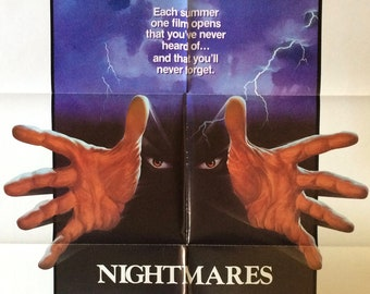 Nightmares 1983 Vintage Original Theatrical Movie Poster Eighties 80s Horror Anthology with Emilio Estevez and Lee Ving Punk Rock Cult Film
