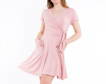 Surplice Crossover V-Neck Short Sleeve Fit   Flare Swing Soft Knit Waist Tie  Pockets Women s Casual Spring Summer Sundress Wrap Dress - Pink 53e32119f