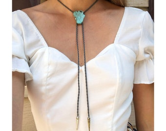 Turquoise Stone Bolo Tie Braided Vegan Faux Leather Silver Tips Handmade Necklace Adjustable Black White Brown Boho Bohemian Western Jewelry