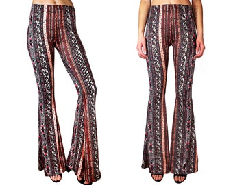17012f1034e5 Bell Bottom Flare Stretch Yoga High Waisted Boho Print Gypsy Comfy Burgundy  Ethnic Tribal Damask 70s Hippie Bohemian Festival Legging Pants