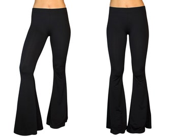 0d72382f3185af Bell Bottom Flare High Waisted Classic Boho Gypsy Comfy Stretch Knit Fitted  Yoga Solid Black 70s Hippie Bohemian Festival Legging Pants