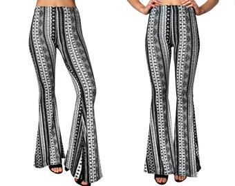 d1102a6b3c68dd Bell Bottom Flare Stretch Yoga High Waisted Boho Gypsy Black White Ethnic  Tribal Striped 70s Hippie Bohemian Women's Festival Legging Pants