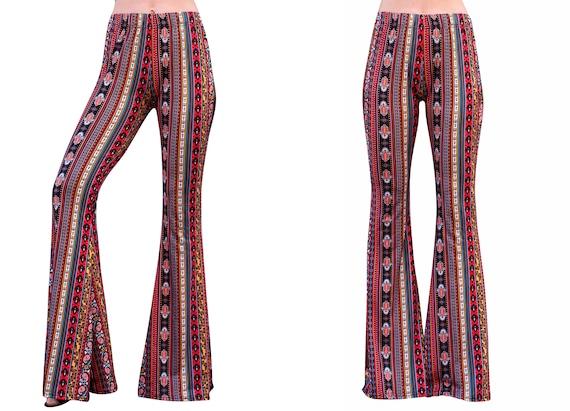 Bell Bottom Flare High Waisted Boho Ethnic Hamsa Hand Damask Print Red Yellow 70s Gypsy Hippie Bohemian Stretch Yoga Festival Legging Pants
