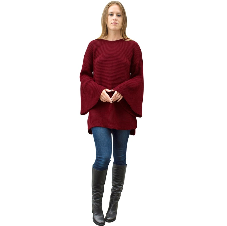 Burgundy Bell Sleeve Chunky Thick Knit Oversized Loose Fit Women Warm Winter Long Wide Boat Neck Tunic Maroon Red Pullover Holiday Sweater