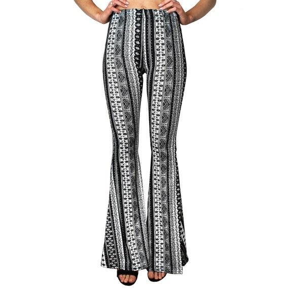 Bell Bottom Flare Stretch Yoga High Waisted Boho Gypsy Black White Ethnic Tribal Striped 70s Hippie Bohemian Women's Festival Legging Pants