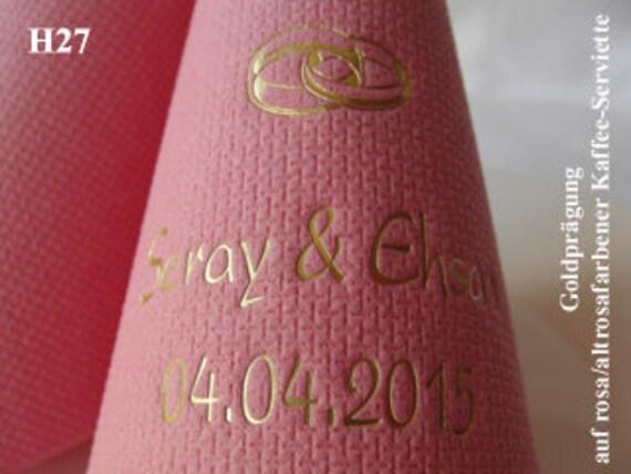 100 edel bedruckte Servietten mit Namen vom Kind Taufe rosa//altrosa Kaffeetafel