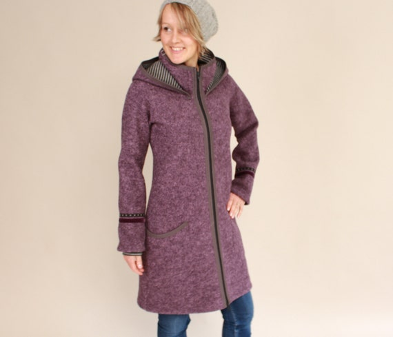Kapuzen Mantel aus Walk, Betty, Walkmantel Damen, Walkjacke, in vielen Farben, neuer fliederfarbener Walk!