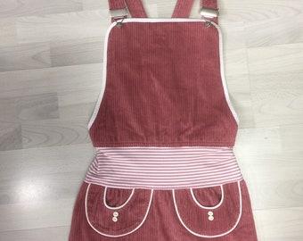 Latz Dress, Cord Dress, Retro Cord Dress, Breitcord Dress, Janina Gr. Xs/S