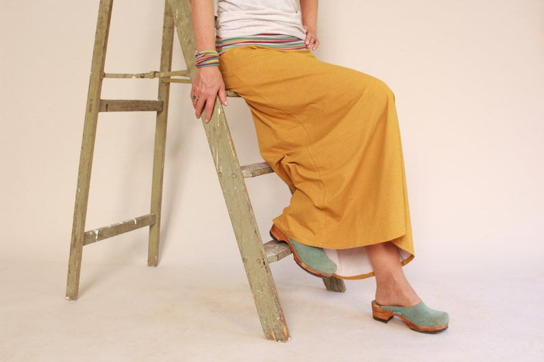 floor-length skirt in mustard with dots image 0