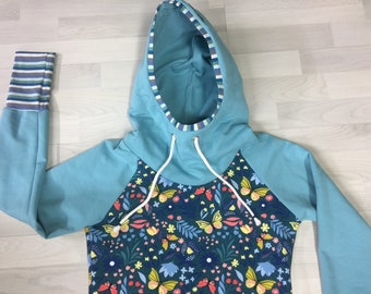 Hoody Ladies, Hoodied with Flowers, Butterfly