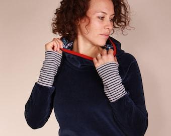 Nicky Hoodie, Hoodie Ladies, dark blue sweater with new hooded lining!