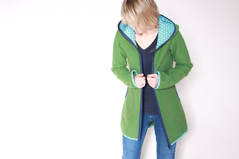 Walk jacket wool jacket whale coat new green image 0