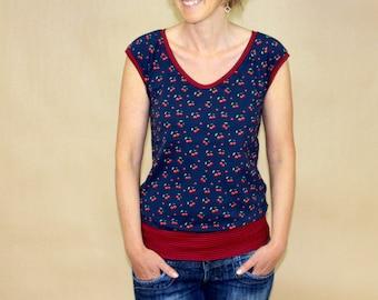 Cherries T-Shirt, Short Sleeve Shirt, Raglan Shirt, Cherries, T-shirt with Cherries,