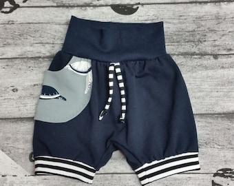 cc8e6d022b kurze Pumphose Gr.56-116, Jersey, Babyhose, Kinderhose, kurze Hose Jungen,  blau,Sommerhose
