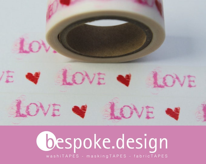 Featured listing image: Masking Tape RED PINK Love & hearts