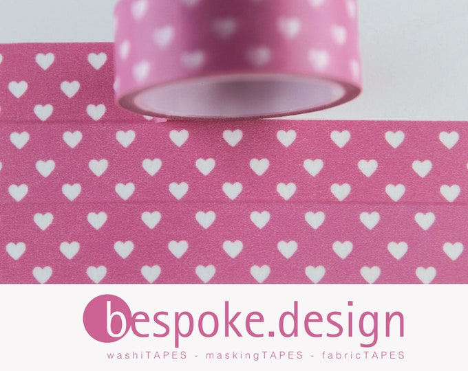 Featured listing image: Washi Masking Tape Pink HEART LOVE