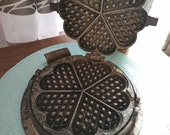 Waffle Iron Vintage Wood Stove Antique 1930s Deco Shabby