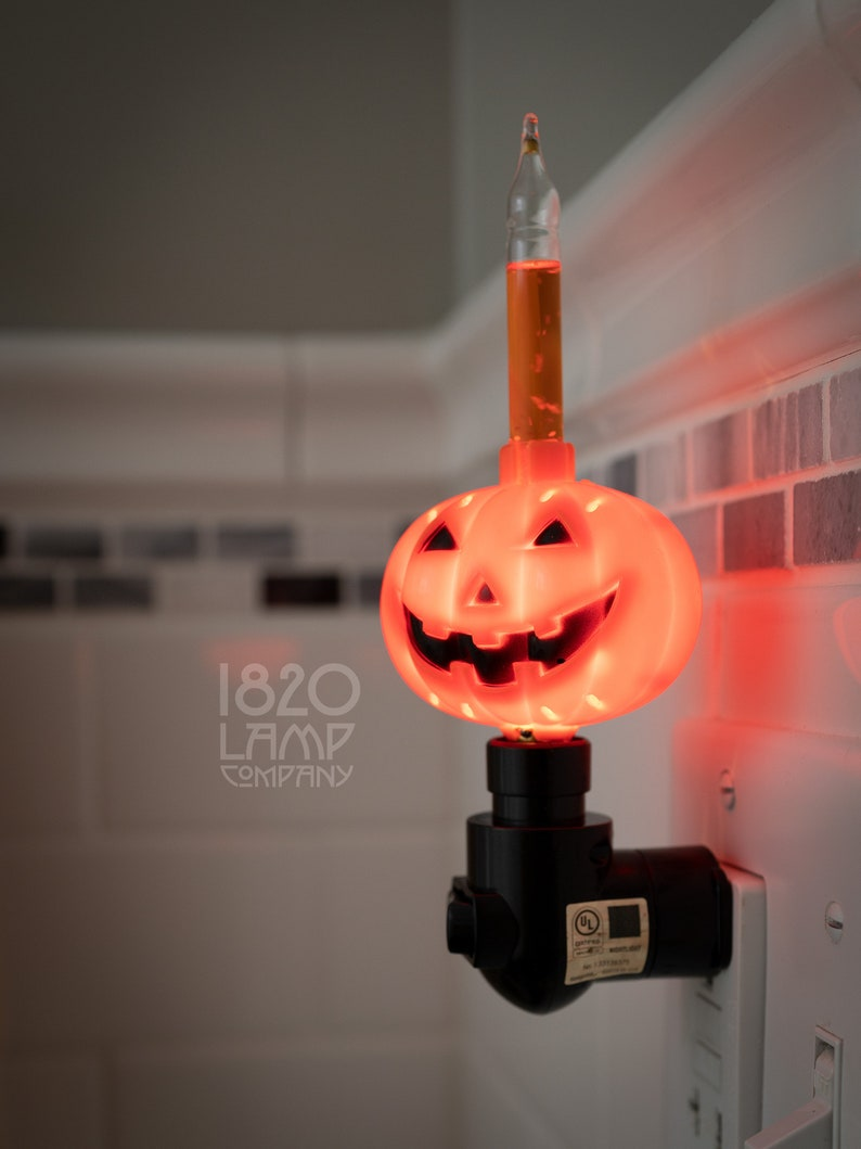 Pumpkin Bubble Night Light Vintage  Retro  Halloween Decor image 0