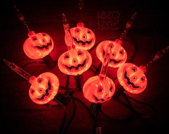 7 Count Halloween Pumpkin Bubble String Lights [Vintage – Retro – Indoor – Halloween Decor]