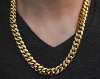 Cuban Choker Miami Cuban Link Chain Choker Necklace Real Solid 14K Gold Finish Stainless Steel Cuban necklace Gold Cuban Chain 10mm Miami Cuban Link Chain