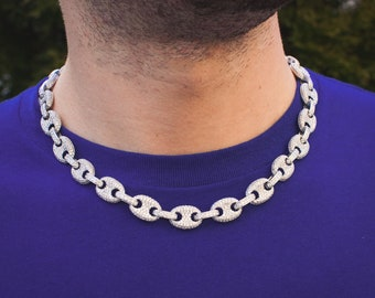 abdf9ef25 14k White Gold Diamond Gucci Mariner Link Chain Necklace Choker 18