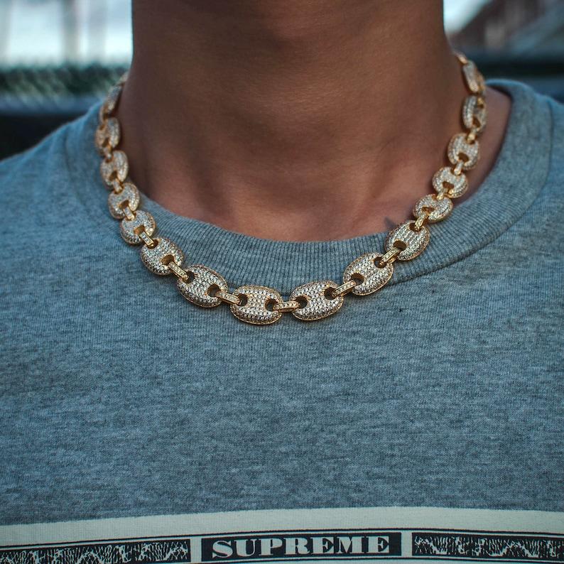 8fc51ecea7fb 14k oro amarillo diamante Gucci Mariner enlace cadena collar