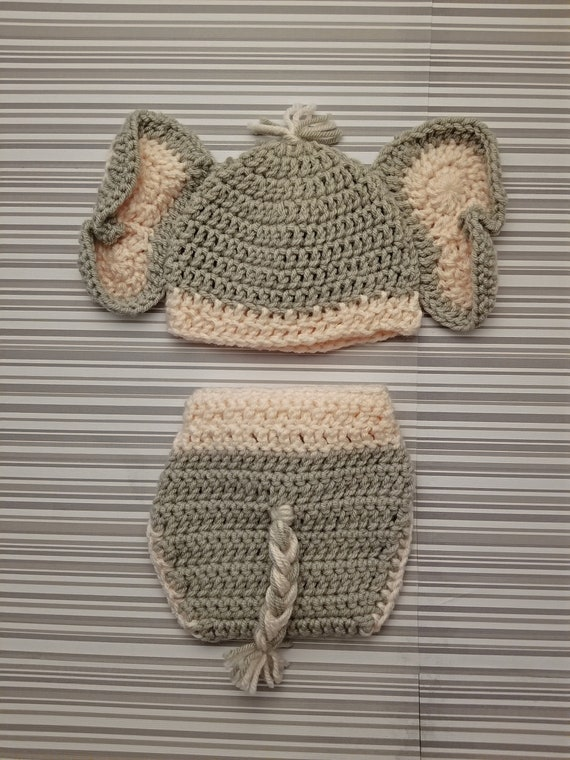 Jeffery Jr the Elephant Hat and Diaper Cover Baby Set PDF Crochet ... | 760x570