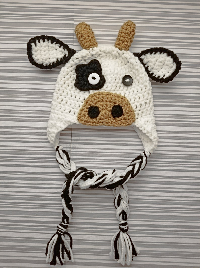 Crochet Cow Hat Crochet Beanie Crochet Cow Cow Outfit Etsy