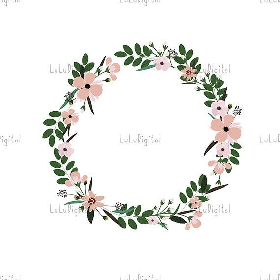 Digital Flower Wreath Floral Frame For Greeting Invitation Wedding Cards Design Instant Download Png Jpeg