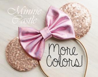 Minnie mouse ears, Rose gold Minnie ears, Metallic Bow  Minnie mouse Disney ears, Minnie mouse ears headband, Disney ears,  Mickey ears