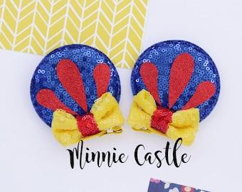 Minnie ears, Snow White Minnie ears hair clips, Princess Snow White Hair clip Minnie ears  toddler, baby girl, kids, Disney trip hair clips