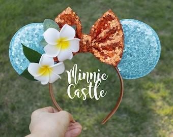Moana Minnie ears, Disney Princess Moana inspired Minnie mouse ears, Moana Mickey ears, Moana costume ears, Moana ears, Disney Minnie Mouse