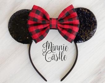 Buffalo plaid bow Minnie Ears, Red Plaid bow Minnie mouse ears, Buffalo Plaid Christmas Mickey ears, Winter Minnie ears, Plaid Disney ears