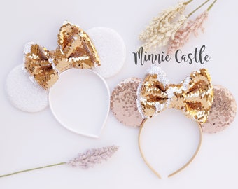 Minnie ears, Minnie mouse ears, Rose gold Minnie ears, rose gold & White Minnie Mouse Ears with gold flip Bow, white gold Mickey mouse ear