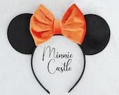 Black and Orange Halloween Minnie Ears, Halloween Ears, Halloween Velvet Minnie Ear, Velvet Disney Ears, Velvet Mickey ears
