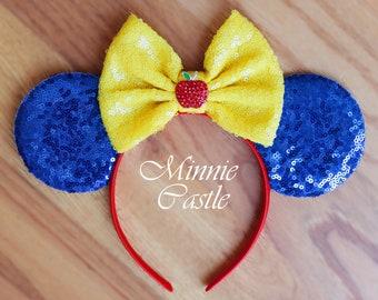 Snow White Minnie Ears, Snow White Mouse Ears Headband , Snow White Mouse Ears, Minnie Mouse Headband, Snow White Princess Ears, Disney