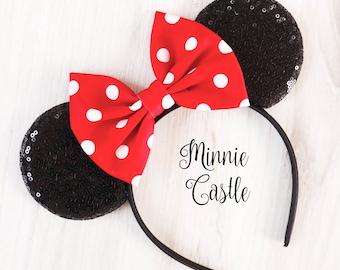 Minnie mouse ears, polka dot Minnie ears, Polka dot Minnie mouse Disney ears, Mickey mouse ears headband, Disney ears, Red bow Mickey ears