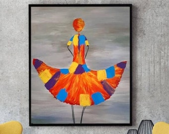 Downloadable Digital Print, Woman Print, Abstract print colorful, Modern Room Decor, Wall art, African, Afro woman, Abstract, tribal color