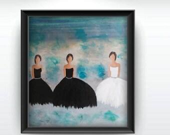 Abstract Dancer Painting Modern Dance Impasto Minimalist Painting  Ballerina Painting.Painting of womens. Gift idea for Dancers Black&white