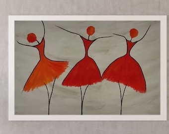 Ballet Dancer Painting Dancing Girl Abstract Modern Art Ballerina Abstract painting on Canvas Red painting texture paintig Impressionist