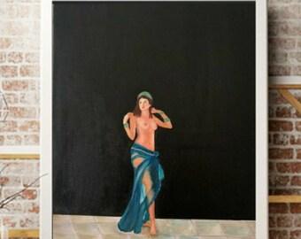 Women Dancing Painting Belly dance Original Art Lady in Blue Wall Art Erotic ArtworkFigurative Painting Bohemian Gypsy Goddess Art Arabian
