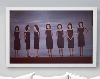 Fashion Wall Art Girl Painting. Fashion Canvas Wall. Art Fashion.Abstract Women  Painting.Women in Black Dress.Girls Power. Women Boss Gift.
