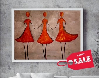 Colorful Ballerinas Painting, Woman Silhouettes Original Abstract Art, Textured Canvas Home Office Decor, Dancers Figures Abstract Wall Art,