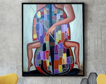 Painting of girl playing the cello, violoncello player crylic portrait, cellist musician playing , gift for cello musician player, Musician