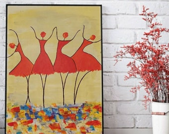 Modern Impressionist Ballet Dancer.Figurative Painting, Modern painting. Boho Art. Abstract painting. Livingroom Decor. Colorful painting.