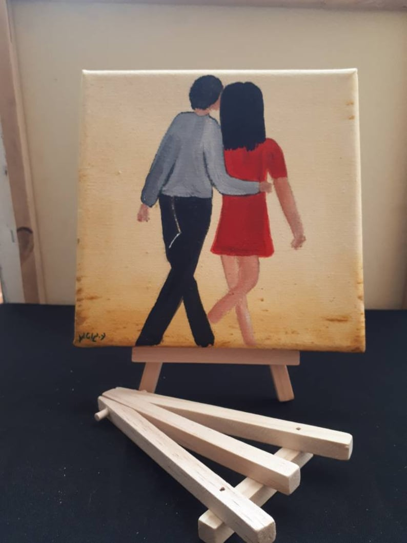 Small lovers painting / Small Engagement Gift / Small Gift image 0
